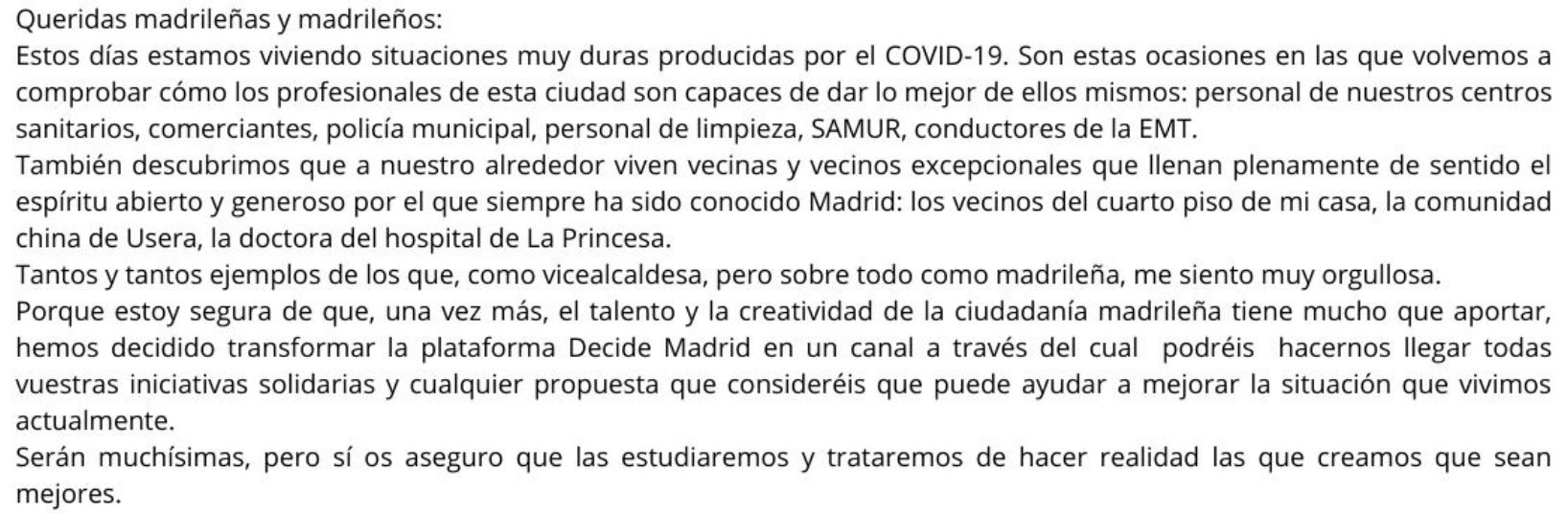 Extracto carta de la Vicealcaldesa
