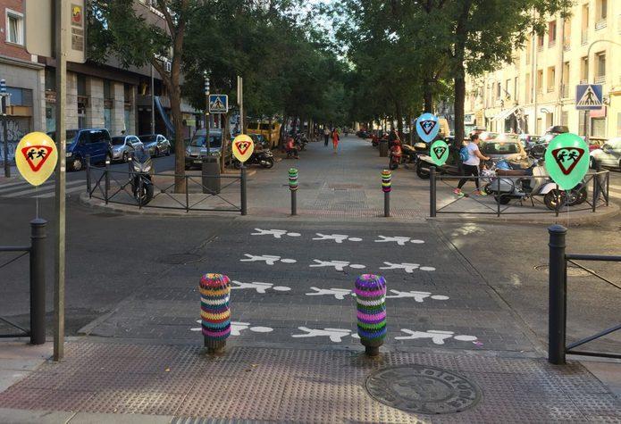 Camino escolar seguro creado en Retiro por Experimenta Distrito